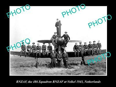 OLD LARGE HISTORICAL PHOTO OF THE RNZAF, AIR FORCE  486 SQUADRON AT VOLKEL c1945