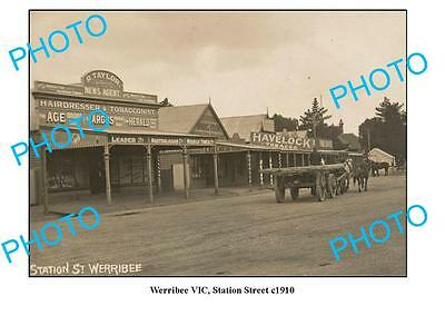 OLD LARGE PHOTO, WERRIBEE VICTORIA, VIEW OF STATION STREET c1910