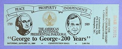 January 1989 Bush Quayle Inaugural Ticket #1 at the Constitution Hall Washington