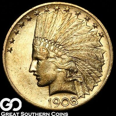 1908 Eagle, $10 Gold Indian, Brilliant Uncirculated++ ** Free Shipping!