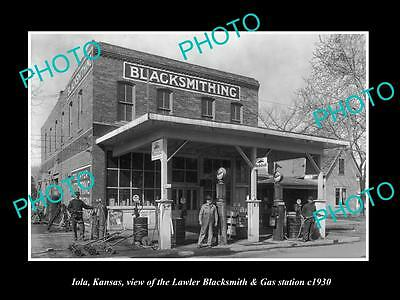OLD LARGE HISTORIC PHOTO OF IOLA KANSAS, THE LAWLER BLACKSMITH STATION c1930