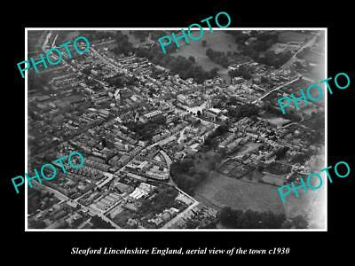 OLD LARGE HISTORIC PHOTO OF SLEAFORD LINCOLNSHIRE ENGLAND, THE TOWN c1930 1