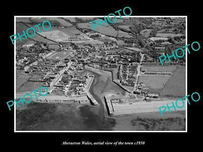 OLD LARGE HISTORIC PHOTO OF ABERAERON WALES, AERIAL VIEW OF THE TOWN c1950