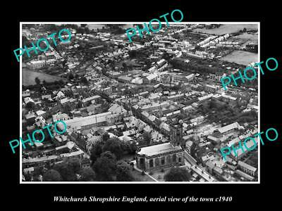Old Large Historic Photo Of Whitchurch Shropshire England, Aerial Of Town 1940 3