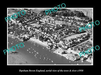 OLD LARGE HISTORIC PHOTO OF TOPSHAM DEVON ENGLAND, THE TOWN & RIVER c1950