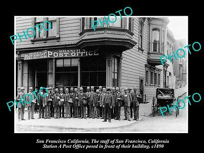 OLD LARGE HISTORIC PHOTO OF THE SAN FRANCISCO POST OFFICE A BRANCH & STAFF c1890