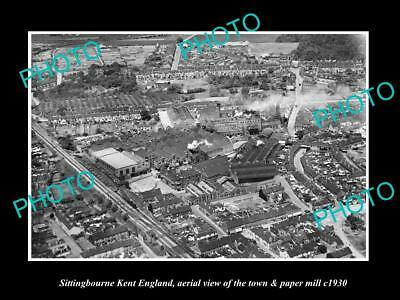 OLD LARGE HISTORIC PHOTO OF SITTINGBOURNE ENGLAND, THE TOWN & PAPER MILL c1930