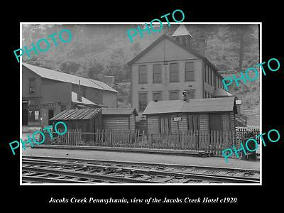 OLD LARGE HISTORIC PHOTO OF JACOBS CREEK PENNSYLVANIA, THE TOWN HOTEL c1920