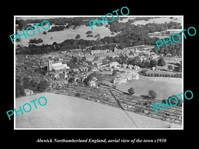 OLD LARGE HISTORIC PHOTO OF ALNWICK ENGLAND, AERIAL VIEW OF THE TOWN c1930 3