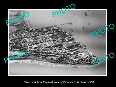 Old Large Historic Photo Of Sheerness England, View Of The Town & Harbour 1950 2