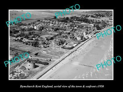 OLD LARGE HISTORIC PHOTO OF DYMCHURCH KENT ENGLAND, AERIAL VIEW OF TOWN c1950 1