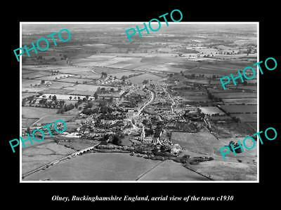 OLD HISTORIC PHOTO OF OLNEY BUCKINGHAMSHIRE ENGLAND, VIEW OF THE TOWN c1930 2