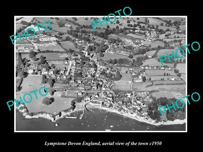 OLD LARGE HISTORIC PHOTO OF LYMPSTONE DEVON ENGLAND, VIEW OF THE TOWN c1950 2