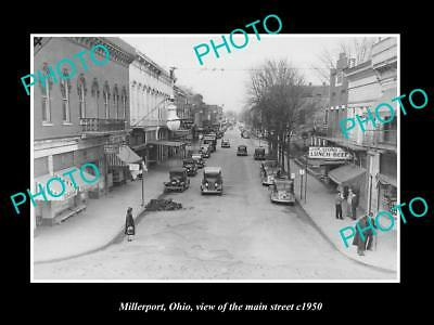 OLD LARGE HISTORIC PHOTO OF MILLERPORT OHIO, VIEW OF THE MAIN STREET c1950