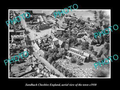 OLD LARGE HISTORIC PHOTO OF SANDBACH ENGLAND, AERIAL VIEW OF THE TOWN c1930 1