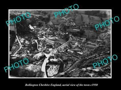 OLD LARGE HISTORIC PHOTO OF BOLLINGTON CHESHIRE ENGLAND, AERIAL OF TOWN c1950 1