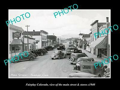 OLD LARGE HISTORIC PHOTO OF  FAIRPLAY COLORADO, THE MAIN St & STORES c1940