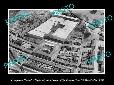 OLD LARGE HISTORIC PHOTO OF CONGLETON CHESHIRE ENGLAND, EMPIRE TOWEL MILL c1930