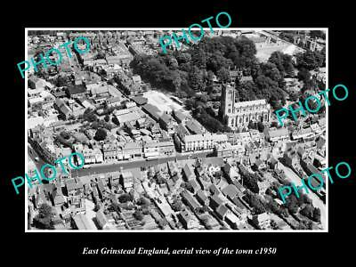 OLD LARGE HISTORIC PHOTO OF EAST GRINSTEAD ENGLAND, AERIAL VIEW OF TOWN c1950 2