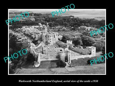 OLD LARGE HISTORIC PHOTO OF WARWORTH ENGLAND, AERIAL VIEW OF THE CASTLE c1930