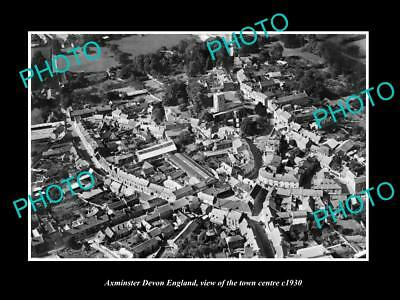 OLD LARGE HISTORIC PHOTO OF AXMINSTER DEVON ENGLAND, THE TOWN CENTRE c1930 1