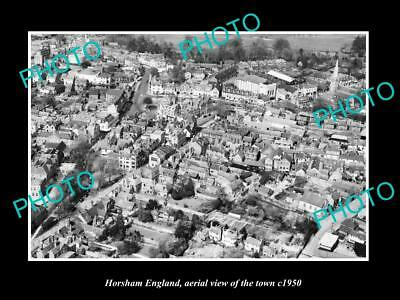 OLD LARGE HISTORIC PHOTO OF HORSHAM ENGLAND, AERIAL VIEW OF THE TOWN c1950 1