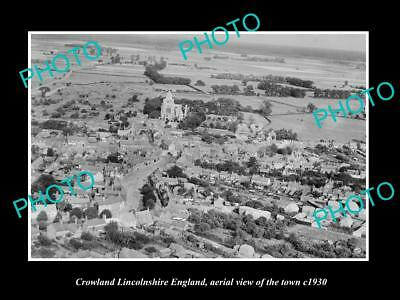 OLD LARGE HISTORIC PHOTO OF CROWLAND ENGLAND, AERIAL VIEW OF THE TOWN c1930