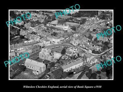 OLD LARGE HISTORIC PHOTO OF WILMSLOW ENGLAND, AERIAL VIEW OF BANK SQUARE c1930