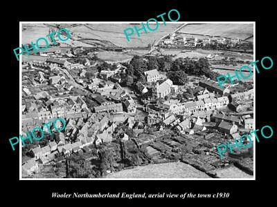 OLD LARGE HISTORIC PHOTO OF WOOLER ENGLAND, AERIAL VIEW OF THE TOWN c1930 4