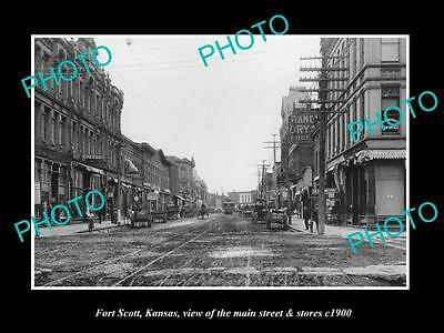 OLD LARGE HISTORIC PHOTO OF FORT SCOTT KANSAS, THE MAIN STREET & STORES c1900