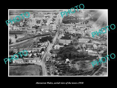 OLD LARGE HISTORIC PHOTO OF ABERAERON WALES, AERIAL VIEW OF THE TOWN c1930 3