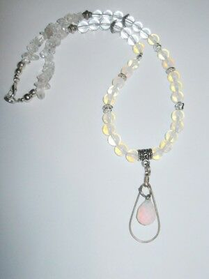 Gemstone jewelery Unique Necklace OPALITE  & CLEAR QUARTZ  with teardrop pendant