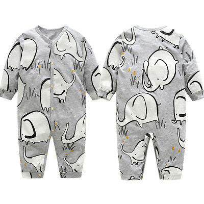 Newborn Baby Girl Boy Cotton Long Sleeve Cartoon Printed Jumpsuit Romper Outfits
