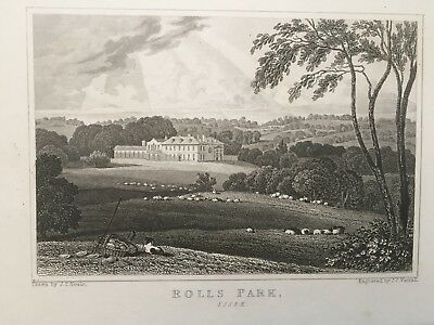 1830 Antique Print; Rolls Park, Chigwell, Essex after Neale