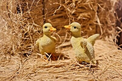 Ducks Cute Duckling Statues 2 Pc Set Realistic Life Like Home Yard Garden Decor