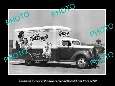 OLD LARGE HISTORIC PHOTO OF SYDNEY NSW, KELLOGS RICE BUBBLES CEREAL TRUCK c1940