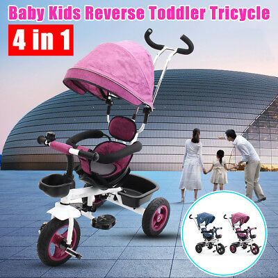 4 In 1 Ride-On Toys Baby Toddler Pram Tricycle Bike Trike Stroller Kids Canopy
