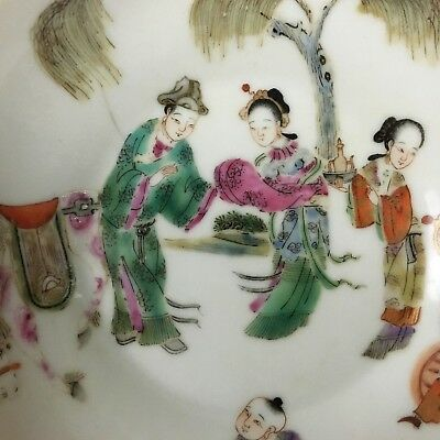 Antique Chinese 19th C. Qing Dynasty Xianfeng Mark Porcelain Story Plate Vase
