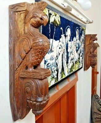 Vintage Eagle Wooden Wall Corbel Bracket Pair Bird Sculpture Home Decor Set of 2