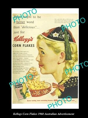 Old Large Historic Aust Kellogs Corn Flakes Advertisement Photo, 1960 Girl