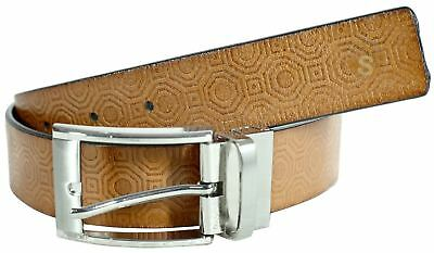 Mens Double Sided Diamond Cross Pattern Rotating Buckle Leather Belts S-3XL