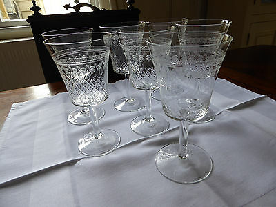 RARE - Set of 7 LARGE Pall Mall/Lady Hamilton Etched Crystal Wine Glass Goblets