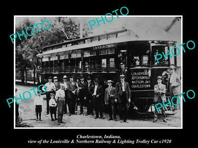 OLD LARGE HISTORIC PHOTO OF CHARLESTOWN INDIANA, L&NR&L RAILROAD TROLLEY c1920