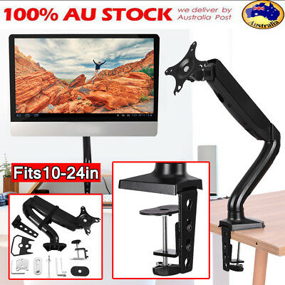 "Single Arm Monitor Desk Mount Stand Fits 10"" to 24"" 11lb Gas Spring Clamp VESA"