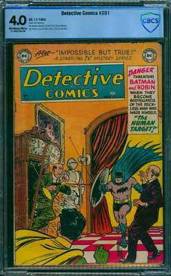 Detective Comics # 201  The Human Target !  CBCS 4.0 scarce Golden Age book !