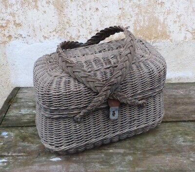 Antique Victorian 1890s French black wicker basket gardeners market work basket