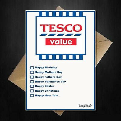 Tesco Value Funny Novelty All Occasions Card Mothers Fathers Day