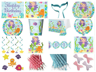 Mermaid Childrens Girls Birthday Party Cups Plates Napkins Loot Bags Balloons