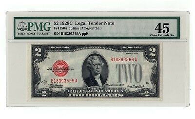FR-1504 1928 C Two $2 Dollar Note Bill Red Seal FR.1504 1928-C 1006354-007 PMG