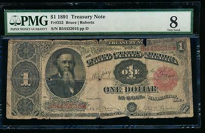 AC Fr 352 1891 $1 Treasury Coin Note STANTON PMG 8 comment